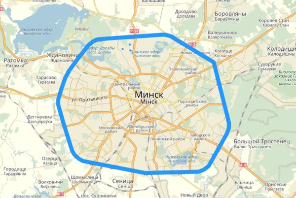 Карта МКАД Минска